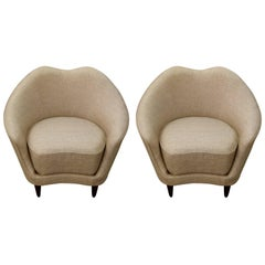 Pair of Federico Munari Italian Mid-Century Taupe and Grey Lounge Chairs
