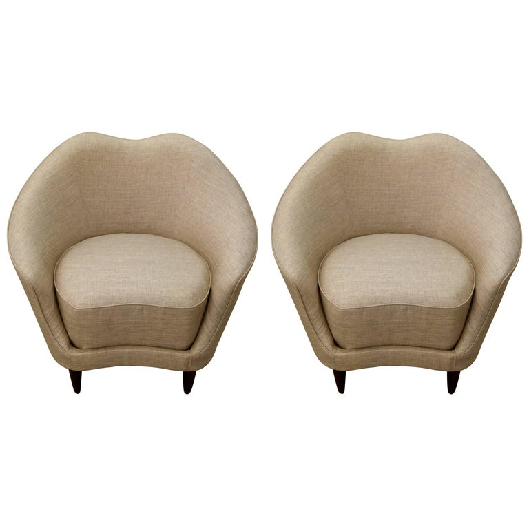 Pair of Federico Munari Italian Mid-Century Taupe and Grey Lounge Chairs For Sale