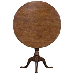 George III Period Antique English Oak Tilt-Top Table, circa 1790