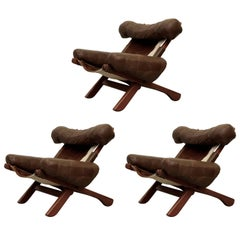 Set of Three Danish Armchairs with cowhide, 1960s