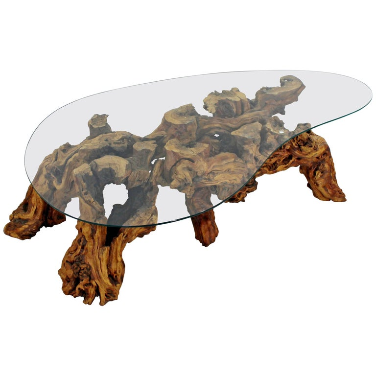 Mid-Century Modern Michael Weiss Grapevine Kidney Glass Top Coffee Table For Sale