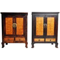 Chinese Cabinet with Beautiful Burl Panels and Original Patina