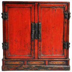 Red Lacquer Chinese Low Chest with Five-Drawers and Original Patina