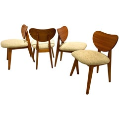 American, Mid Century Set of Four Dining Hearth Chairs by Brown Saltman