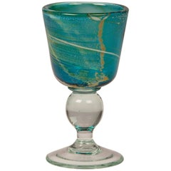 Vintage Mdina Glass Goblet of Turquoise Color Malta, circa 1975, Signed