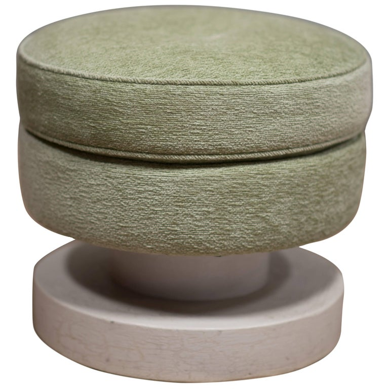 Round Upholstered and Lacquered Ottoman by S. Mack