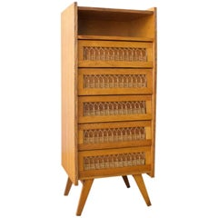 Vintage Mid-Century French Chest of Drawers with Wicker Detail