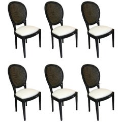 Six Rope Motif Black Lacquered Chairs, in the Manner of Maison Jansen