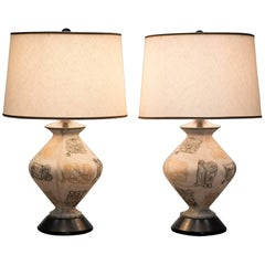 [Pair] ITALIAN OVOID SHAPED glass Table Lamps