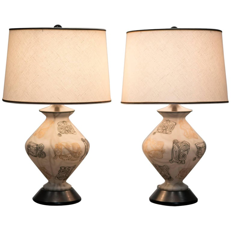 Pair of Italian Ovoid Form Glass Table Lamps