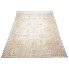 Beige Hand-Knotted Wool Oushak Rug, circa 1990
