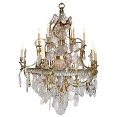 French Louis XV Style 20th Century Gilt-Bronze and Rock Crystal Chandelier