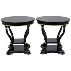 Pair of Hollywood Regency-Style Ebonized End Tables