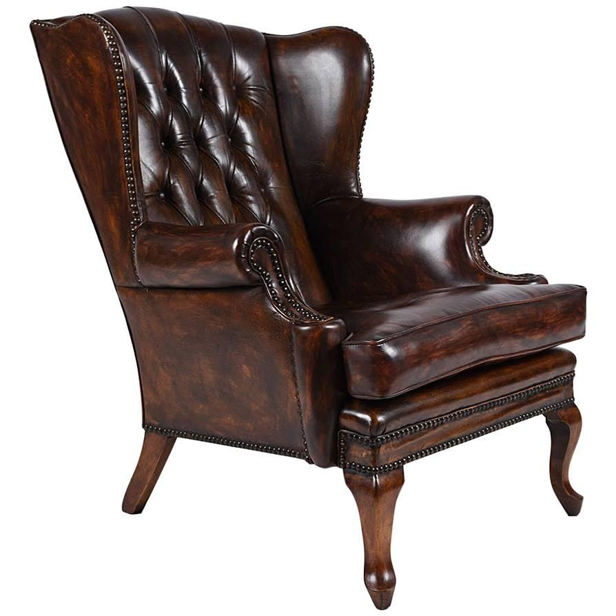 Exceptional Regency Style Tufted Leather Wingback Chair 1