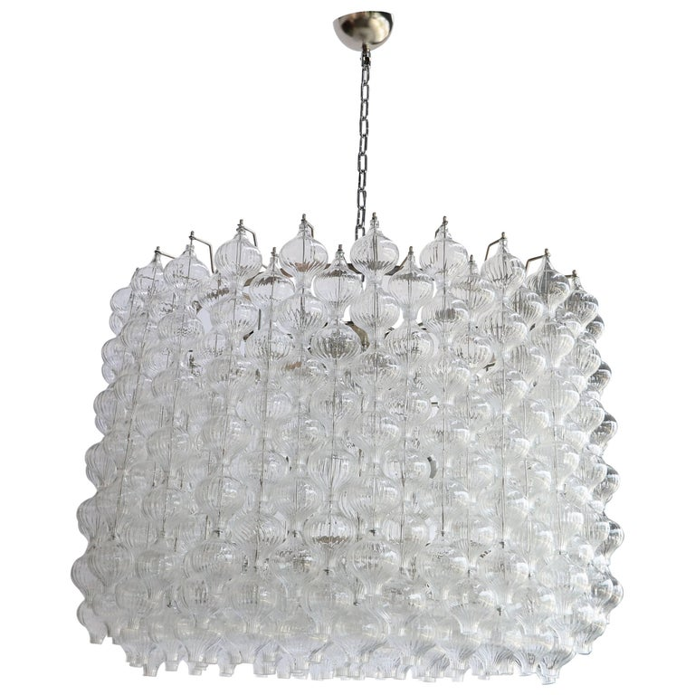 Murano Glass 1980s Tulip Drum Chandelier For Sale