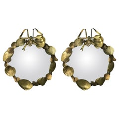 Pair of French Brass Shell Motif Convex Mirrors