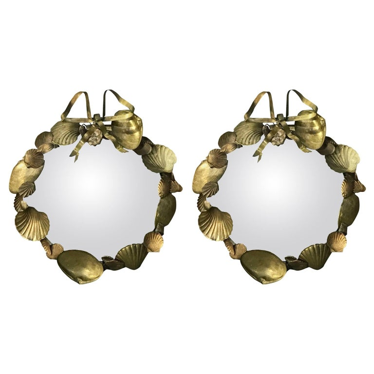 Pair of French Brass Shell Motif Convex Mirrors For Sale