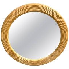 Mid-Century Bamboo Round Mirror