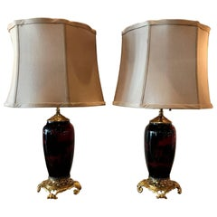 Pair of Antique English Flambe Doulton Lamps with Ormolu Mounts