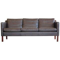 Børge Mogensen Style Sofa in Dark Espresso Down Filled Leather by Mogens Hansen