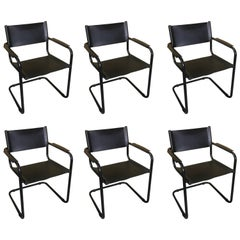 Six Leather and Blackened Chrome Arm Chairs by Mart Stam for Fasem
