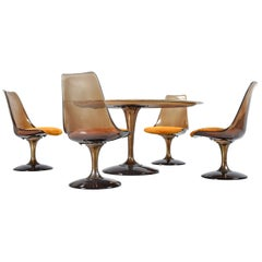 Chromcraft Amber Acrylic with Shag Fabric Chairs and Faux Marble-Top Dining Set