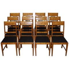 Rare Set of 12 Satin Birch Biedermeier Dining Chairs Swedish Victorian, 1900