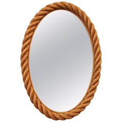 Beautiful Audoux et Minet Rope Mirror, circa 1960