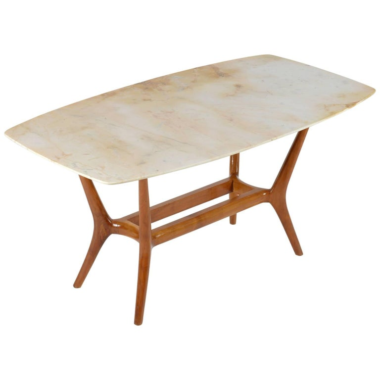 Solid Wood Coffee And End Tables For Sale: Italian Midcentury Solid Wood And Marble-Top Coffee Table