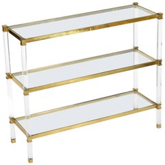 Midcentury Lucite, Brass and Glass Shelf-Console-Étagère