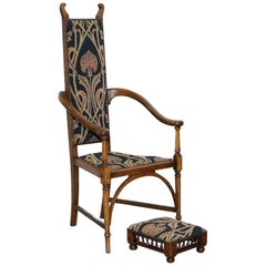 Henry Holmes Gillows Lancaster George III Armchair and Stool HH Stamped