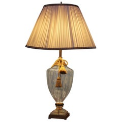 Seguso Style Solid Transparent Crystal Table Lamp with Gilt Brass Accents