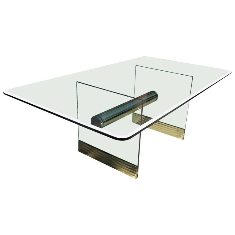 Monumental Long Glass and Brass Pace Dining Table or Desk