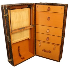 1930s Louis Vuitton Stenciled Monogram Wardrobe Steamer Trunk, Malle Vuitton
