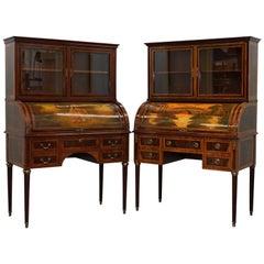 Pair of French Louis XVI Neoclassical Secretaire Bookcase Desks Vernis Martin