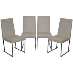 Four Antonio Citterio B&B Italia S47 Solo Dining Chairs Cream Leather