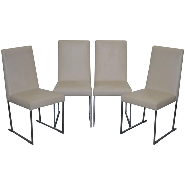 Four antonio citterio b b italia s47 solo dining chairs for Cream dining room chairs sale
