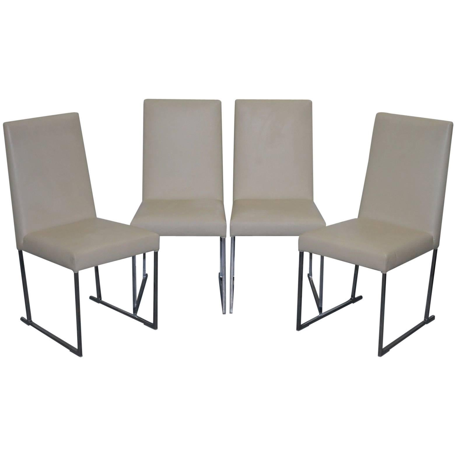 Four Antonio Citterio Bu0026amp;B Italia S47 Solo Dining Chairs Cream Leather