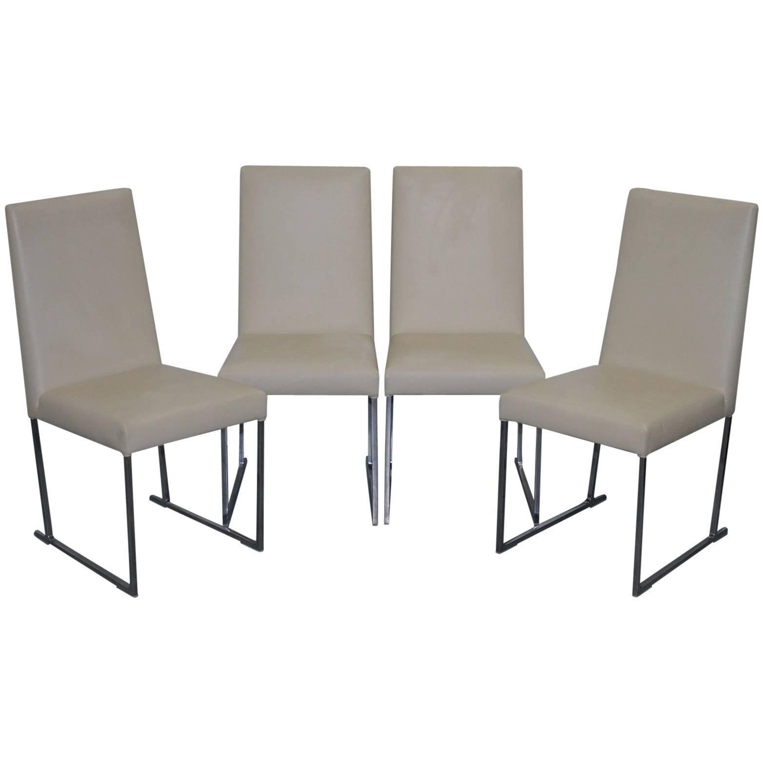Four Antonio Citterio Bu0026B Italia S47 Solo Dining Chairs Cream Leather For  Sale