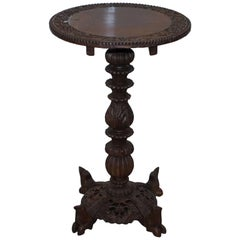 Hand-Carved Anglo-Indian Padouk Tilt Top Round Side Table, circa 1840