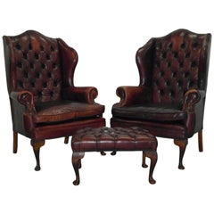 Pair of Chesterfield Oxblood Leather William Morris Armchairs with Footstool