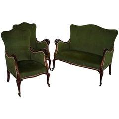 Stamped Cornelius V Smith Victorian Mahogany Velvet Suite, Sofa and Armchairs