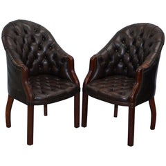Pair of Bevan Funnell Chesterfield Principle Brown Leather Armchairs