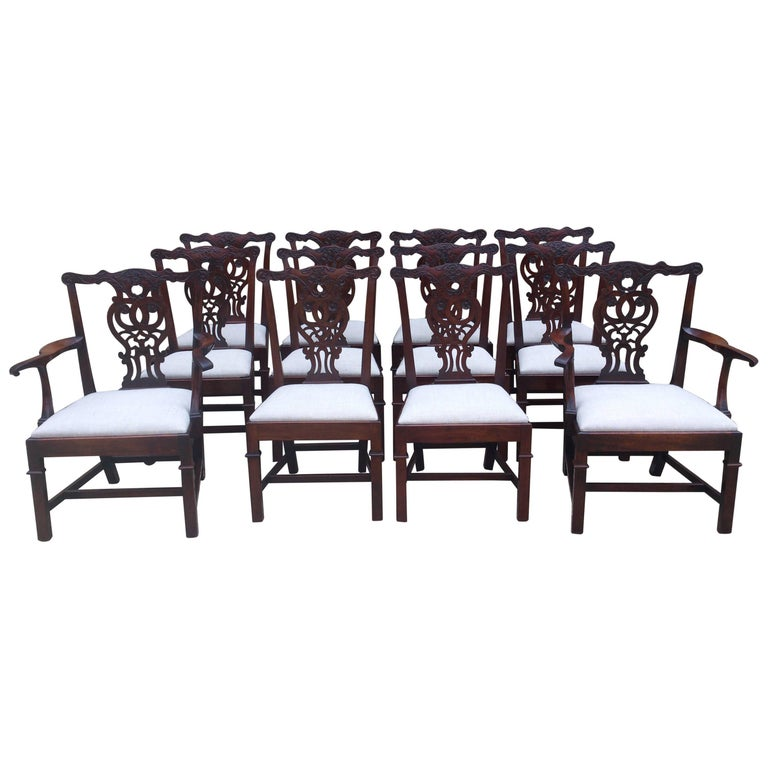 Large and Strong Set of 12 19th Century Chippendale Mahogany Dining Chairs