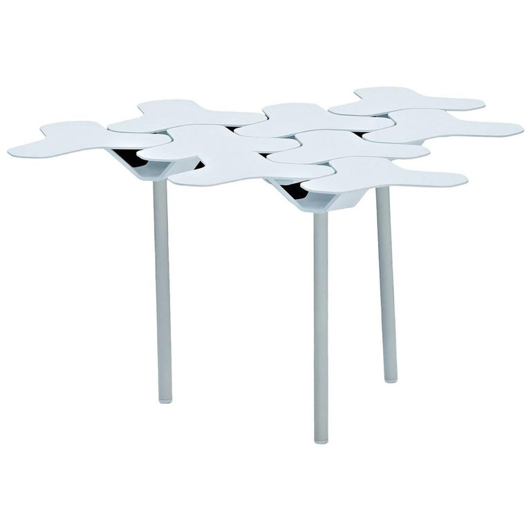 Moroso Nanook Low Table in White, Black, Red or Gold Powder Coated Steel For Sale