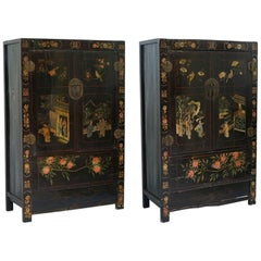 Pair of Chinese Solid Teak Chinoiserie Marriage Cabinets, circa 1880
