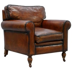 Restored Vintage Oak Hand-Dyed Brown Leather Club Armchair with Feather Cushions