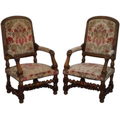 Pair of Walnut Framed Lion Head Carved Throne High Back Armchairs, circa 1870