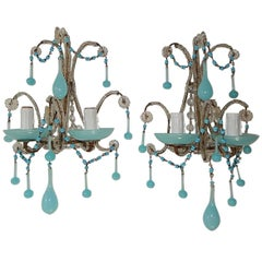 1920 French Aqua Blue Opaline Beaded Sconces