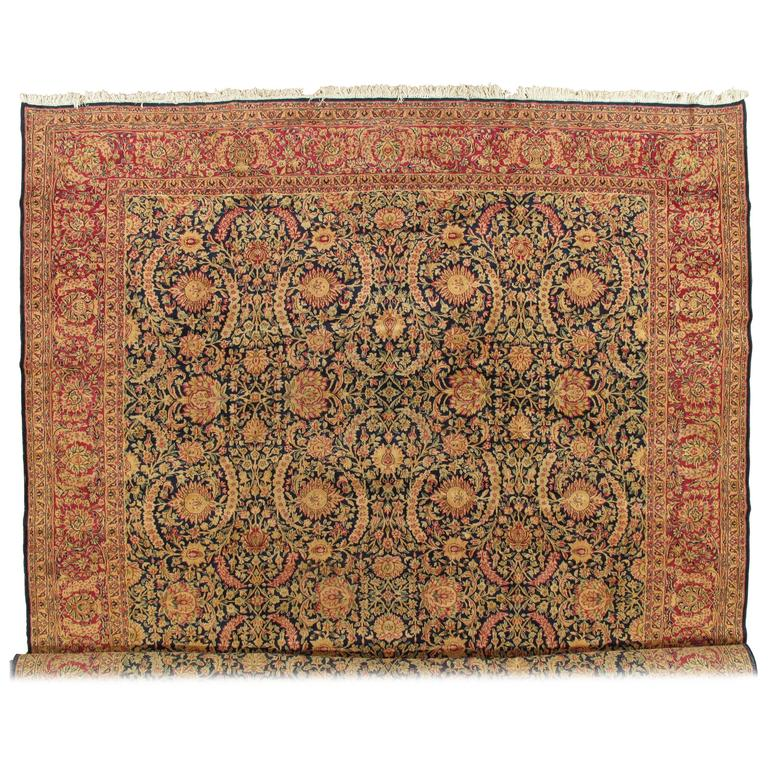 Antique Kerman Carpet, Persian Handmade Oriental Rug, Red and Blue, Allover